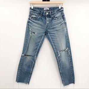 Moussy Kelley Mid Rise Distressed Raw Hem Jeans